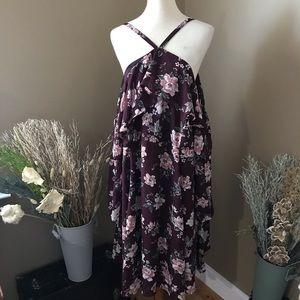 Torrid Burgundy Floral Cold Shoulder Dress